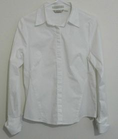 $29.95 OBO tommy bahama stretch white long sleeve button down womens shirt top size: medium free shipping