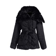 Fashionable Detachable Artificial Rabbit Hair Neck Ruffle Design Long  Sleeve Solid Color Loose Fit Cotton Padded Women s Coat 7a4534900