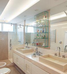 Construindo Minha Casa Clean: 20 Banheiros com Bancadas Bege - Veja Dicas e Ideias!