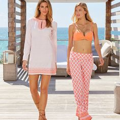 Coral Embroidered Ticking Stripe Cover Up, Womens Dresses and Cover Ups, Coral underwire and built-in push up bikini top, Coral print Beach Pants, Women's  louge and beach pants, Cabana Life 50+ UPV Sun Protective Clothing