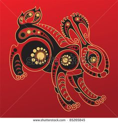 Chinese Ink Drawing Rabbit | Rabbit - Chinese horoscope animal sign. The vector art image in ...