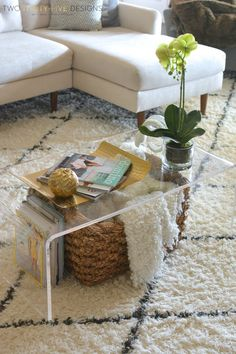 Lucite Coffee Table Styling - Two Thirty-Five Designs