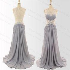 lace sexy prom dress,O-neck long prom dress,cheap evening dress,340