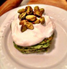 Gluten Free Spinach Pancakes with Honey Almond Yogurt! Great St. Patty's Day Pancakes =)