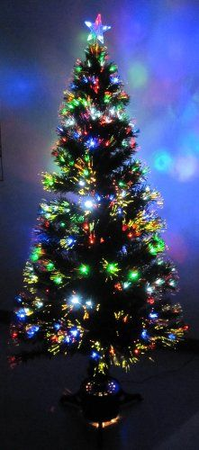 8 foot green artificial fiber optic christmas tree w 300 multicolor led lights santa