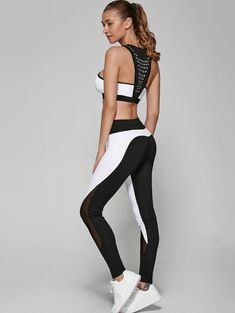 Nice ssporty outfit for the ggym // Geometric Print Bra and Mesh Patchwork Leggings Crop Top And Leggings, Leggings Sale, Mesh Leggings, Gym Leggings, Leggings Fashion, Cheap Leggings, Printed Leggings, Crossfit, Suits For Women