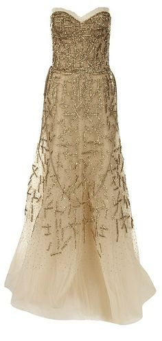 MONIQUE LHUILLIER Strapless Embroidered Tulle Gown