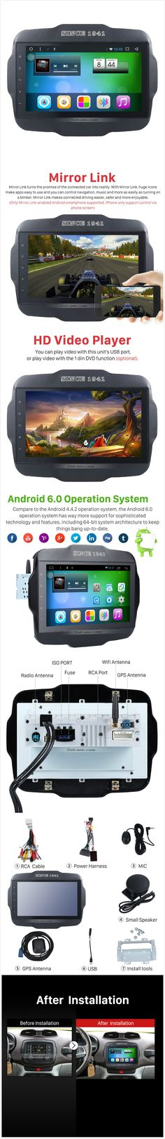 9 inch 2016 Jeep RENEGADE High Version with Capacitive Touch Screen Android 6.0 Radio GPS Navigation System 3G WIFI Bluetooth Mirror Link Steering Wheel Control Tpms DVR AUX OBD2 Rear Camera