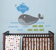 Sticker baleine nautique sticker poisson sous la par InAnInstantArt
