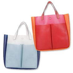 """One look at Anya Hindmarch's tricolor rubber design and it's clear that this bag was made to play in the sand. Durable, bright and large enough to carry all of my oceanside must-haves, this tote doesn't just say """"summer,"""" it screams it!"""