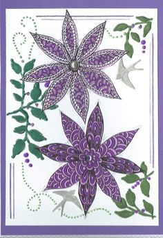 Flowers zentangle card by Shelagh O.