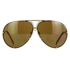 Porsche Design 8478 A Gold/Brown Sunglasses | Pretavoir ❤ liked on Polyvore featuring accessories, eyewear, sunglasses, porsche, gold aviators, porsche sunglasses, gold lens aviators and porsche glasses