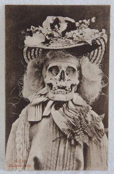 1905 Rare Macabre Death Antique Skeleton Lady by bellusvanitas, $225.00