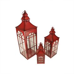 Set of 3 Old Red Asian Inspired Pillar Candle Holder Lanterns 26 -- Be sure to check out this awesome product.(It is Amazon affiliate link) #awesome