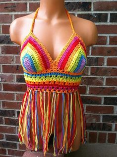 SALE Music Festival Rainbow Halter Top Made To Order by vikni, $45.00