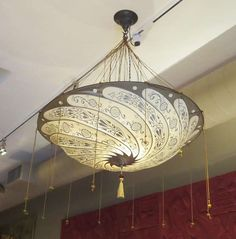 """42Hx32W, $2400, Fortuny Hanging Silk """"Parasol"""" Chandelier - Two Available image 2"""