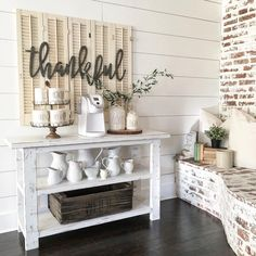 3 ft Metal Thankful sign by Simply Inspired Co. Metal words, thankful decor, coffee bar, coffee bar decor, rae dunn coffee bar, dining room decor, shiplap coffee bar, shiplap, shutter decor, Photo Credit : Instagram @nellyfriedel