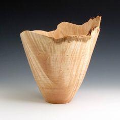Gorgeous! Natural Edge Maple Burl Wood Turned Bowl, $144.00
