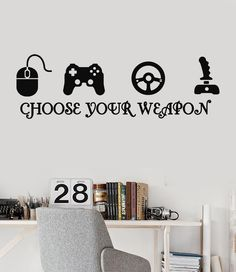 Vinyl Wall Decal Quote Video Game Play Room Joystick Gamer eSports Stickers (ig3216)