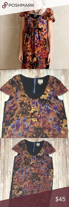 "Anthropologie Pintura Silk Shift Stunning burnt orange floral patterned silk in front and black viscose/rayon back. Also has a black slip built in.  Armpit to armpit- 19"" Length (shoulder to bottom hem)- 35.5"" Widest part of waist/hips- 21"" across Anthropologie Dresses"
