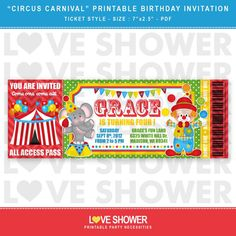 Circus Carnival Printable Birthday Invitation Ticket by LoveShower