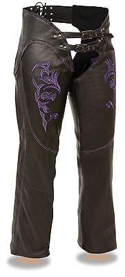 WOMEN'S Purple Leather CHAP with reflective Tribal embriodery Premium Leather Embriodered Reflective tribal design on thigh Stretch on inner thigh for optimal fit Low rise waist design W/Double buckle