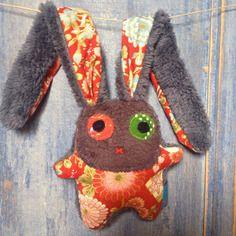 ★ nouveau ★ doudou lapin naissance unique coton fleurs japonaises