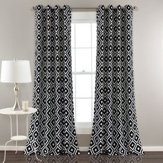Diamond Geo Window Panels feature an eye-catching geometric print that feels like you're looking at a kaleidoscope, but without all the crazy colors. Along with the fascinating design, these curtains