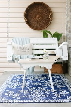 Simple and fuss free Summer living - Summer home tour with TIDBITS. Indoor Outdoor Rugs, Outdoor Rooms, Outdoor Living, Outdoor Decor, Porch Decorating, Decorating Your Home, Decorating Ideas, Decor Ideas, Gazebo