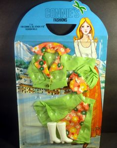 Vintage Barbie Clone Clothes NEW Connie's Fashion Skirt Blouse Green Mod Hat
