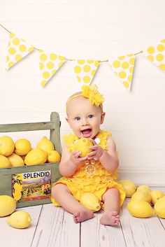 child portrait lemon yellow fruit america girl baby 9 months nine pettiromper summer 4th of July Fourth banner polka dot vintage retro crate headband necklace   https://www.facebook.com/anneschillingsphotography http://www.thehairbowcompany.com