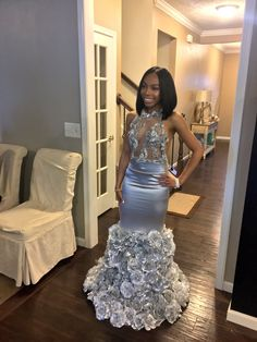 2018 Hand Made Rose Flowers Appliques Prom Dresses In Silver Illusion Bodice Sheer Top African Women Long Formal Evening Dress Party Gown Prom Girl Dresses, Prom Outfits, Dresses Short, Grad Dresses, Homecoming Dresses, Cute Dresses, Beautiful Dresses, Prom Couples, Prom Goals