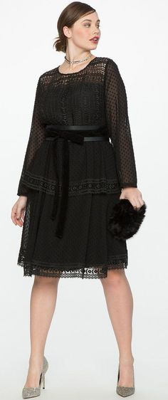 49a2dcd77a Plus Size Lace Tiered Fit and Flare Dress  plussizedressessimple Plus Size  Black Dresses