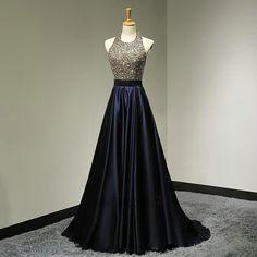 Floor Length Halter Neckline Open Back Dark Navy Blue Prom Dress