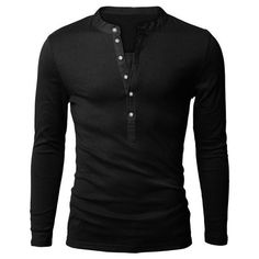 Casual Slim Fit Half Button Solid Color Long Sleeve T-Shirt For Men ($14) ❤ liked on Polyvore featuring men's fashion, men's clothing, men's shirts, men's casual shirts, men, shirts, guys, mens clothes, mens slim fit shirts and mens slim shirts