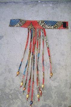 Golden Jubilee Ankara Fabric Beaded Collar Fringe by iladesigns Textile Jewelry, Fabric Jewelry, Diy Jewelry, Fabric Earrings, Fabric Beads, African Necklace, African Jewelry, Ankara Fabric, African Fabric