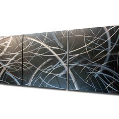 Tenuous - Contemporay Design - Hand-Crafted Fine Metal Art - Modern Abstract Artisan Grind Patterns and Beveled Edges. Safe for Indoor and O...