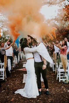 Bohemian Texas Wedding with Smoke Bomb Exit By Meg Lawson Photography Bohemian Texas Wedding with Smoke Bomb Exit By Meg Lawson Photography Boho wedding complete wig smoke bomb exit, flower crowns and fedoras - YES YES YES Wedding Ceremony Ideas, Marie's Wedding, Wedding Send Off, Wedding Exits, Destination Wedding, Wedding Photos, Dream Wedding, Wedding Reception, Wedding Ceremonies
