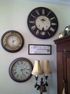 Love this grouping of clocks!; thefeatherednest.blogspot.com