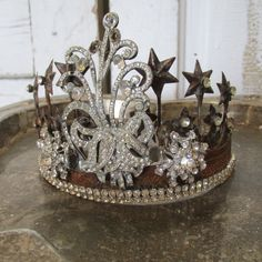 Aged metal statue crown rusted patina French Santos inspired tiara style covered in amazing large vintage rhinestones and trim anita spero