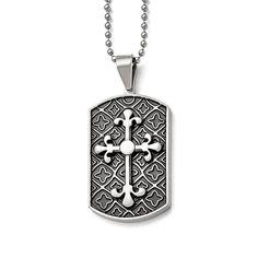 Stainless Steel Black Enamel & Cross Dog Tag Necklace SRN930