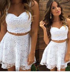 2016 A Line Summer Sexy Women 2 Two Piece Lace Dress White Spaghetti Strap V Neck Casual Mini
