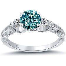 1.56 Carat Fancy Blue Diamond Engagement Ring 18k White Gold Vintage Style