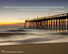 "A Stunning landscape photograph of the Ocean City fishing pier at sunrise in December silhouetted against the horizon with a rising sun and setting moon.  Title: Motion of the Ocean Photographer: Melissa Fague Genre: Landscape Photography  Image with quote: Life is your art. An open, aware heart is your camera. A oneness with your world is your film. Your bright eyes and easy smile is your museum."" — Ansel Adams"
