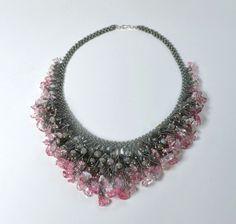 Ice flake quartz and labradorite bib necklace by CHARMATIONS