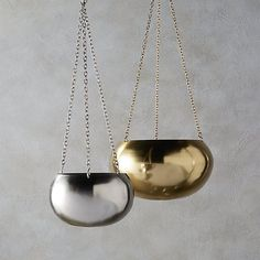Shop 2-piece raj hanging planter set.  Shiny orb suspends plants from a trip of linked chains. Hang hi-low in multiples.