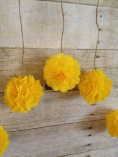 DIY Dandelion Yellow Tissue Paper Flower Wedding by giddy4paisley