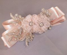 Champagne Blush and Gold Bridal Sash Belt With Fabric Flowers, Swarovski crystals, and Lace Applique - Lace Bridal Sash Bridal Sash Belt, Wedding Sash, Bridal Lace, Rustic Wedding, Embroidery Flowers Pattern, Lace Applique, Lace Ribbon, Ribbon Hair, Flower Belt