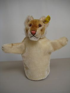 Steiff Vintage Young Lion Puppet  -  Hand Jungloewe  -  1954 to 1958  -  Mid Century  -  Ear Button and Ear Tag  -  EAN 317  -  Glass Eyes by GrandmaJer on Etsy https://www.etsy.com/listing/241878378/steiff-vintage-young-lion-puppet-hand