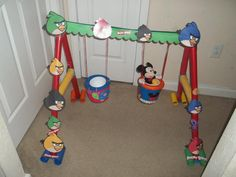 Created a Swing Set out of Toilet Paper Rolls today with the kids. They loved it. So much fun to push their stuff animals on the swings.